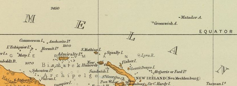 Kapingamarangi (Greenwich A.) en un mapa de la David Rumsey Collection